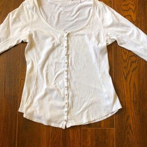 Guess 3/4 Length Sleeve Tee White Medium
